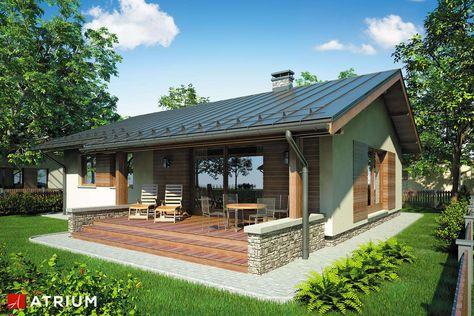 Parterowy mały dom jednorodzinny z zadaszonym tarasem.