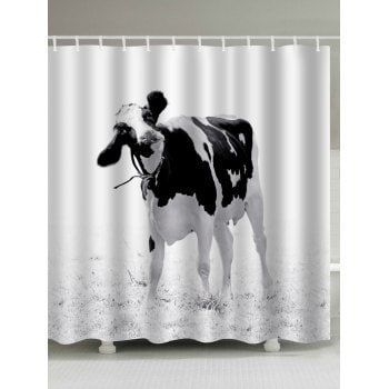 Water Resistant Milk Cow Print Shower Curtain Printed Shower