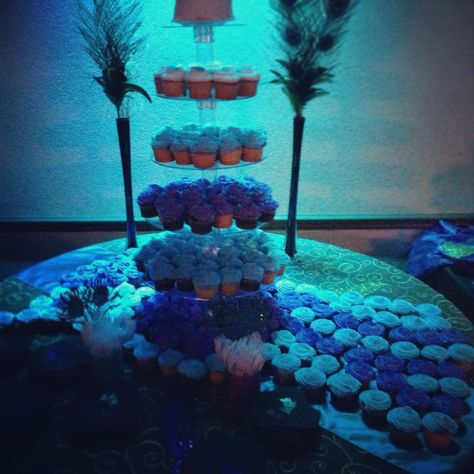 Cupcake tower with peacock design