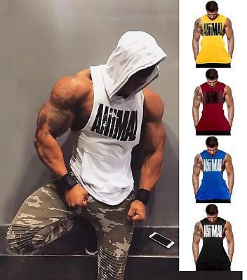 Hot Men Gym Clothing Stringer Hoodie Bodybuilding Tank Top Muscle Red Shirt
