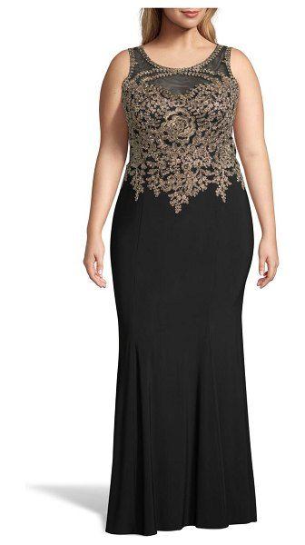 d69f5babf1a Xscape golden embroidered bodice evening dress. #xscape #plussize  #plussizefashion