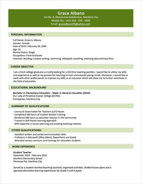 Sample Resume Format for Fresh Graduates - Two-Page Format 11 - cover letter for college teaching position