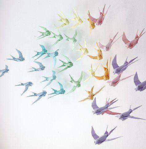 rainbow origami birds - repin Heather Medes