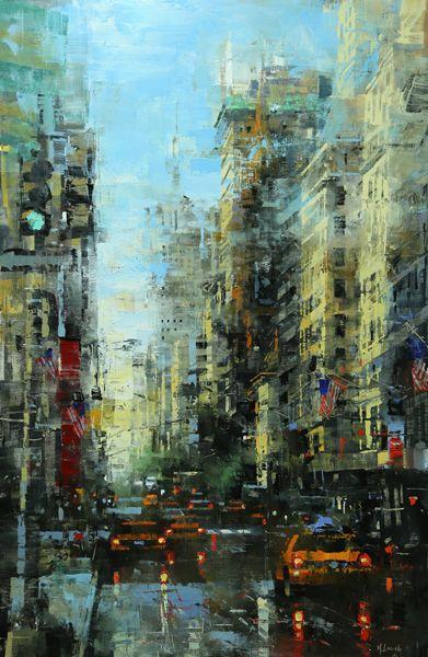Mark Lague New York City Night Oil 36 X 48 Southwest Art Magazine City Painting City Art Cityscape Art