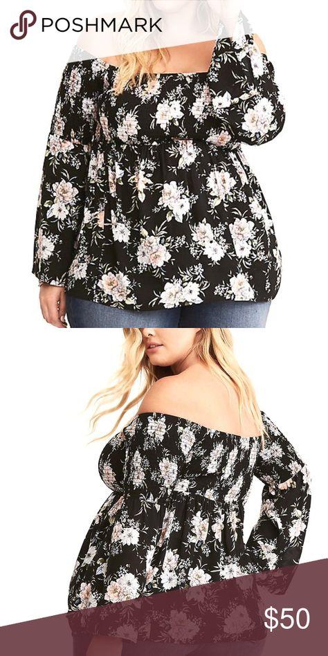 e645f751dd5f02 4X Torrid Floral Smocked Challis Off Shoulder Top New Hi shoulders