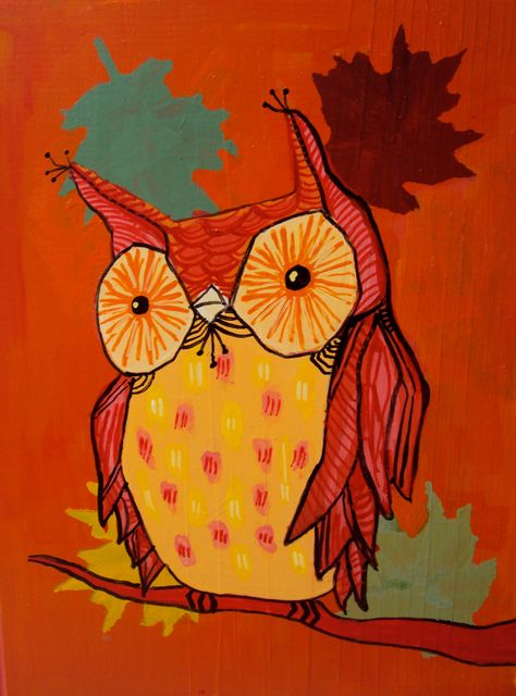 Items similar to Quirky Autumn Owl Painting On Wood Block on Etsy