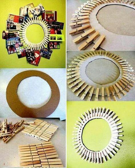 Tolle Foto Collage! Unser Tipp: Für einen besonderen Effekt - Die Wäscheklammern an den Rand eines Spiegels kleben! #Spiegel #Wäscheklammern #Fotos #Wanddeko