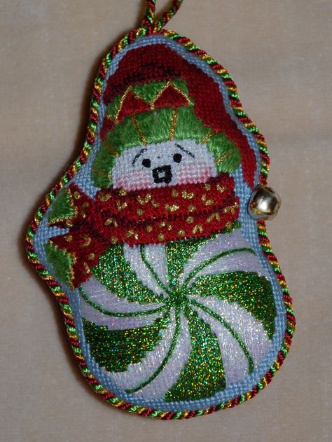 Stitched by Holly Swanson - needlepoint snowman canvas by ACOD - Stitch guide by David McCaskill