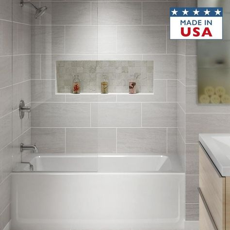 Jacuzzi Primo W x L White Acrylic Rectangular Left-Hand Drain Alcove Bathtub at Lowe's. This PRIMO® soaking bathtub features a subtle arching exterior coupled with unprecedented room for relaxation. Bathroom Tub Shower, Bathroom Renos, Bathroom Renovations, Bathroom Small, Shower With Tub, Bath Tub Tile Ideas, Small Bathroom Remodeling, Small Bathroom Designs, Bathroom Ideas