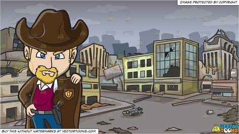 An American Old West Sheriff and A Ghost City After A Disaster Background