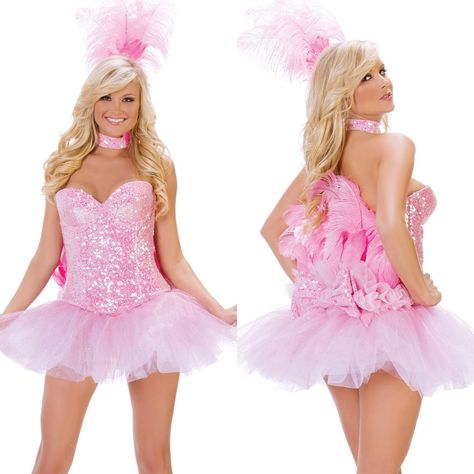 267e6be4056bb Sexy Womens Adult Pink Flamingo Bird Animal Feather Showgirl Ladies Costume  Set