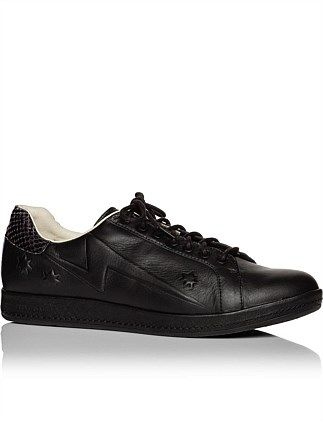 Ps By Paul Smith Lapin Black Trainer With Snake Heel Trim