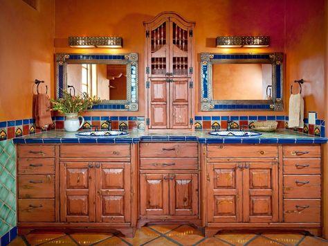 Original Clic New Mexico Homes Mexican Bathroom Vanity