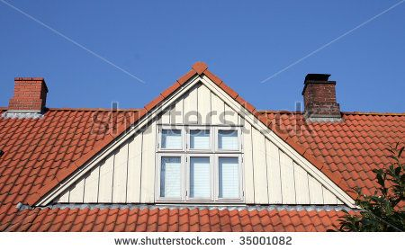 Roof Loft Conversion Or Dormer Tiled House With Chimneys And Windows Against Blue Sky Stock Photo Loft Conversion Architecture Exterior Remodel