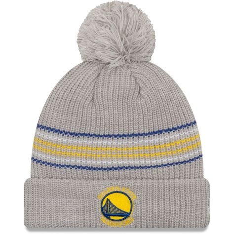9668f090abd Women s Golden State Warriors New Era Gray Snowy Stripe Cuffed Knit Hat  with Pom