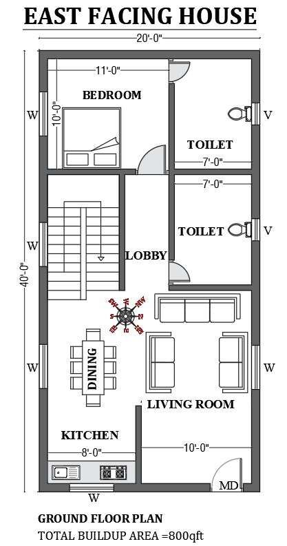 20 X40 Free East Facing Home Design As Per Vastu Shastra Is Given In This Autocad Drawing Fi In 2021 Little House Plans House Layout Plans Small House Design Exterior Small house plan east facing