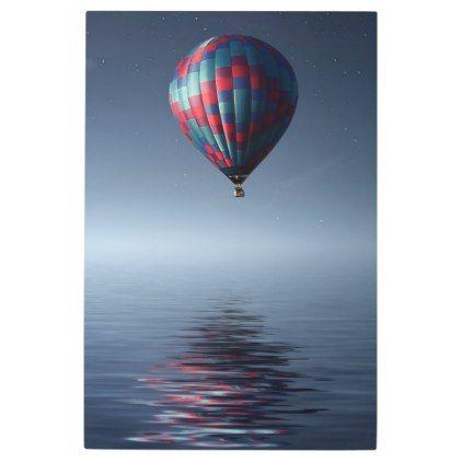 Breathtaking Hot Air Balloon Over Water Metal Print Zazzle Com