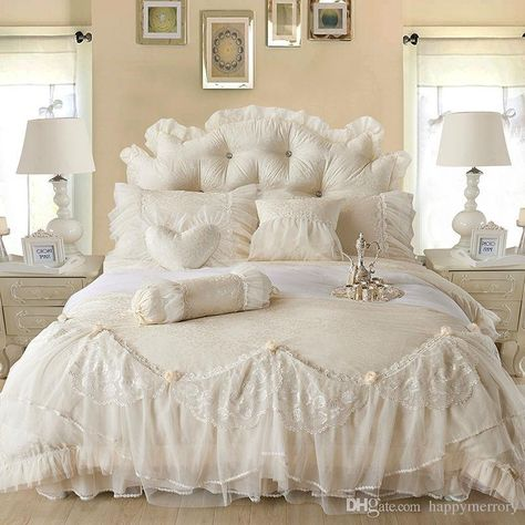 Light White Jacquard Silk Princess Bedding Set Silk Lace Ruffles Duvet Cover Bedspread Bed Skirt Bedclothes King Queen Size King Comforter Sets Purple Bedding From Happymerrory, $151.81| Dhgate.Com