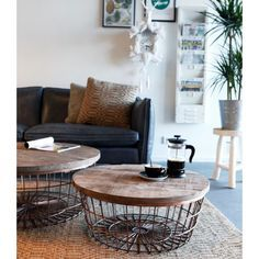 Copper Wire Coffee Table Metal With Wood Top In 2019