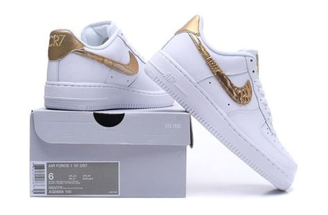 wholesale dealer f6d36 d6716 Nike Air Force 1 07 CR7 White Gold Unisex Sneakers Shoes AQ0666-100
