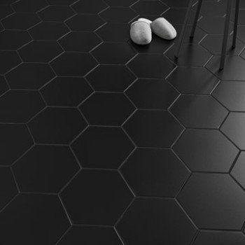 Carrelage Sol Et Mur Noir Effet Béton Hexo L 25 8 X L 29 Cm
