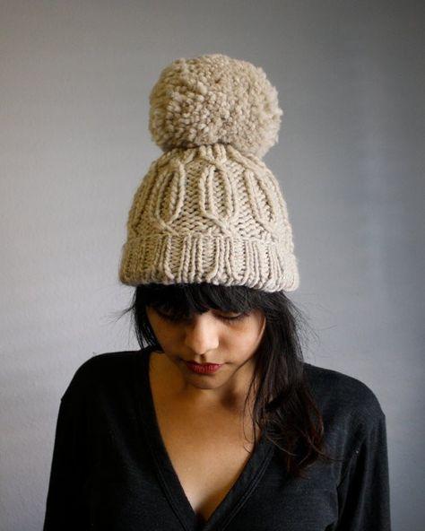 Handmade chunky slouchy winter hats wpom pom