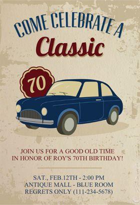 car classic 70th birthday birthday