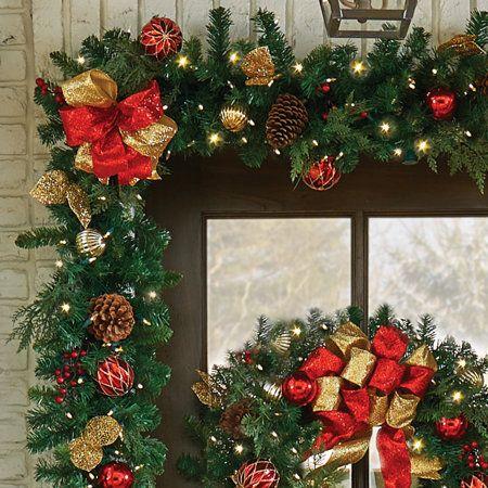 9 Pre Lit Madison Christmas Garland Christmas Door Wreaths