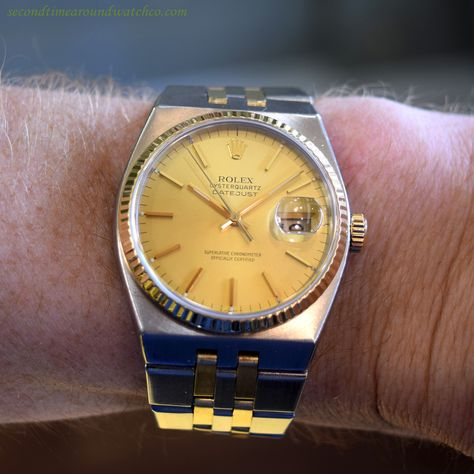 ffd321cfe3bd Today I m wearing a 1981 Rolex Oyster Quartz Datejust Reference 17013  two-tone timepiece. This 18K yellow gold and stainless steel example comes  equipped ...
