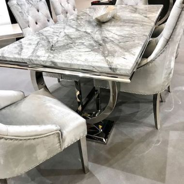 Arianna Grey Marble Dining Table With Steel Legs Dining Table