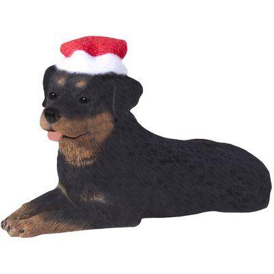 Sandicast Basset Hound with Santa Hat Christmas Ornament