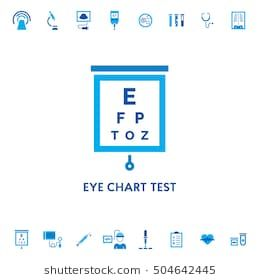 Eye Chart Test Diagnostic Vector Icon Logo Measuring Visual Acuity Sign Illustration Ophthalmologist Exam Table For Patient Isol Eye Chart Chart Vector Icons