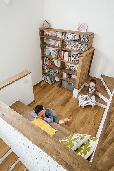 中二階にミニ図書館にあるお家 家 部屋 デザイン 模様替え