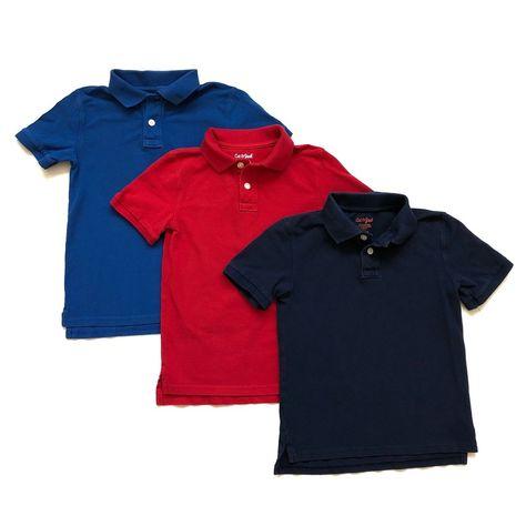 Cat /& Jack Boys Light Blue Short Sleeve School Uniform Polo Shirt Size L 12-14