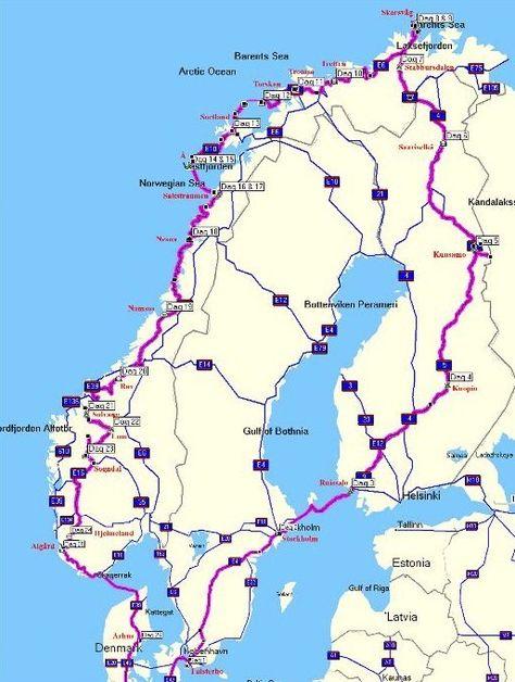 routekaart rondreis noorwegen noordkaap motor