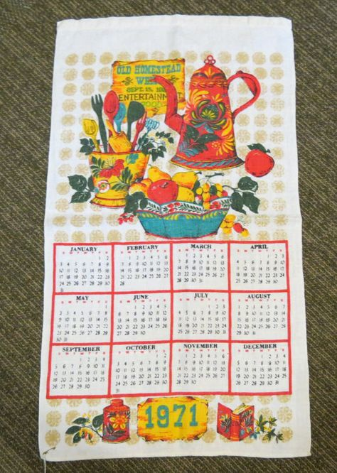 Vintage 1971 Calendar Tea Towel Kitchen Linen By Greencabinstudios