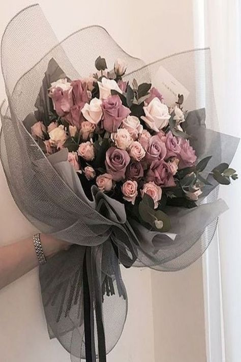 Pink Rose Bouquet, Purple Wedding Bouquets, Purple Roses, Floral Bouquets, Wedding Flowers, Pink Purple, Boquette Flowers, Luxury Flowers, Gift Flowers