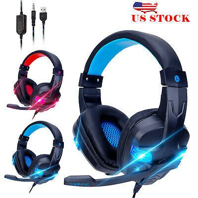 Pro Gaming Headset With Led For Xbox One Ps4 Laptop Headphones Microphone 2020 Headphones Headset Pro Gaming Headset