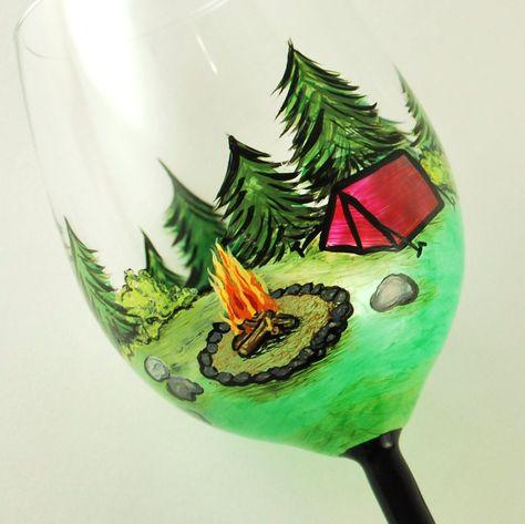 Happy Camper CUSTOM hand painted wine glass -or- beer mug -or- pilsner or any type of glassware... by vk. $45.00, via Etsy.