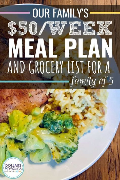 Our $50/Week Cheap Meal Plan and Grocery List for A Family of 5 - Are you trying to make a grocery list on a budget? Feel free to use our cheap meal plan which is PERFECT for families of four or five. Plus, you can make all of these weekly meals on a budget for just $50! #cheapmeals #mealplanning #grocerylist #grocerybudget
