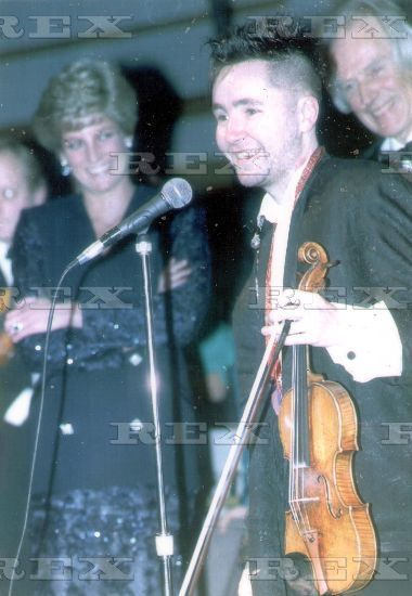 February 5, 1991: Princess Diana with Nigel Kennedy at a concert