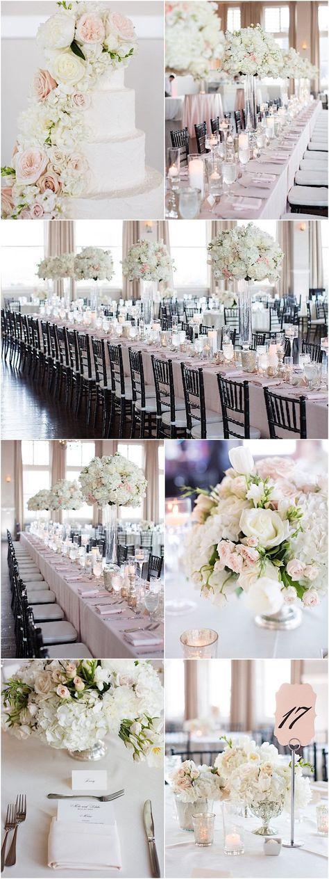 Glamorous white ballroom wedding reception idea; photo: Sarah Kate Photography