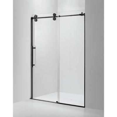 Dreamwerks 60 In X 79 In Frameless Sliding Shower Door In Black Frameless Sliding Shower Doors Frameless Shower Doors Shower Doors