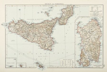 1900 Map of Sicily Italy
