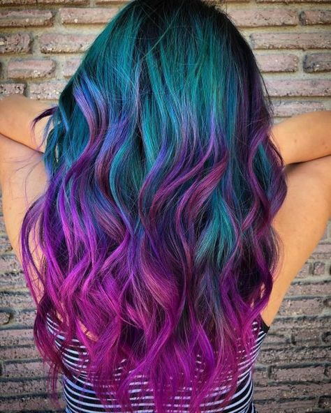 Stratosphere Teal & Magenta color, 23 Incredible Ways to Get Galaxy Hair i. Stratosphere Teal & Magenta color, 23 Incredible Ways to Get Galaxy Hair in Cute Hair Colors, Pretty Hair Color, Bright Hair Colors, Hair Dye Colors, Hair Color For Black Hair, Teal And Purple Hair, Vivid Hair Color, Colorful Hair, Hair Styles With Color