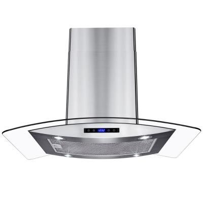 Akdy 36 In Kitchen Island Mount Range Hood In Stainless Steel With Tempered Glass Leds Touch Control And Carbon Filters Rh0418 The Home Depot Range Hood Glass Range Hood Kitchen Range Hood