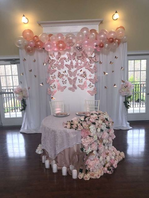 Blush Pink , Rose Gold, and Butterflies Baby Shower | CatchMyParty.com Baby Girl Shower Themes, Girl Baby Shower Decorations, Baby Shower Fun, Baby Shower Gender Reveal, Shower Party, Baby Shower Parties, Babyshower Girl Ideas, Baby Shower Backdrop, Fun Baby