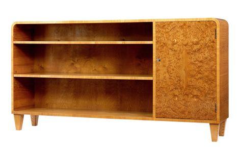 20th Century Scandinavian Burr Elm Low Open Bookcase Open Bookcase Bookcase Scandinavian