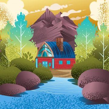 Illustration Of Summer Natural Landscape Scenery In European Scandinavian Villages Vector Illustration Of Landscape Art Art Icons Summer Icons Landscape Icon Art Icon Landscape Art Summer Icon
