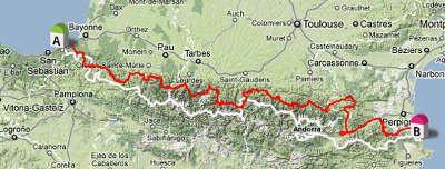 Carte De La Route Des Cols Des Pyrenees Pyrenees Vacances